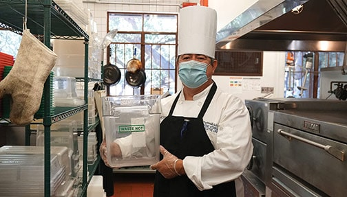 A local chef showcases the recycling process